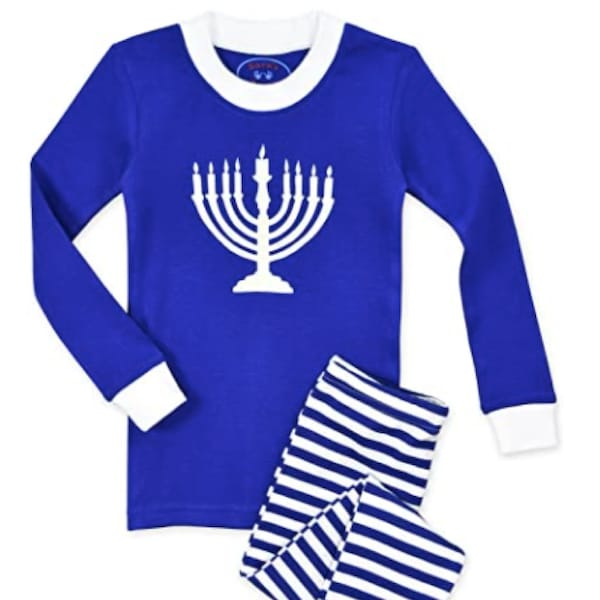 All Cotton Long John Hanukkah PJs