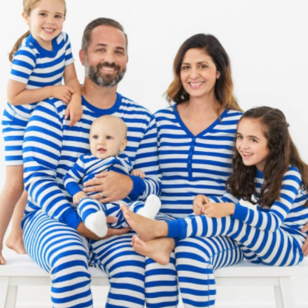 Blue & White Striped Family PJs
