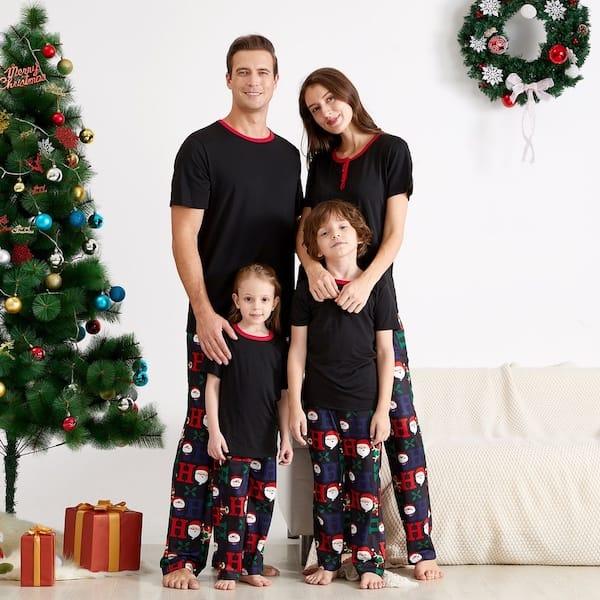 Black Short Sleeve Santa Pant Family Holiday PJs