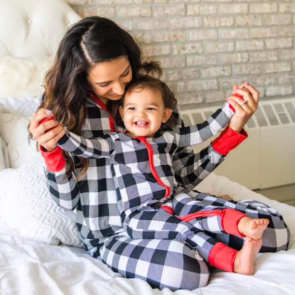 Silky Soft Bamboo Viscose Black & White Plaid Family Holiday PJs