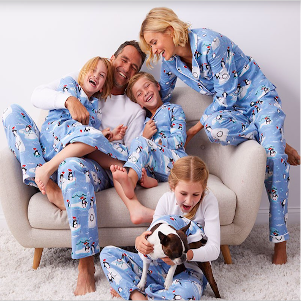 Flannel Penguin Family Holiday Pajamas
