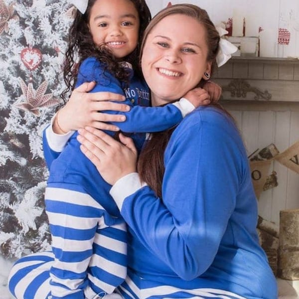 Blue with White Stripe Family Hanukkah PJs
