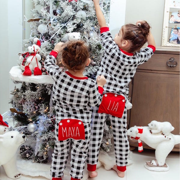 Buffalo Check Custom Family Holiday Onesies