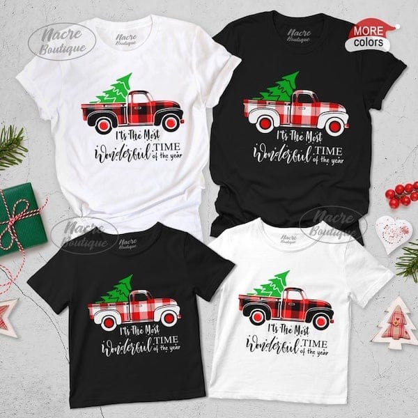 Buffalo Plaid Christmas Truck Shirts