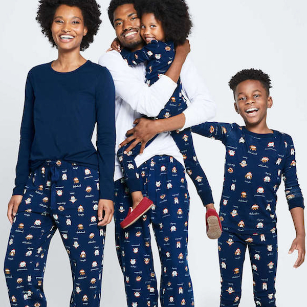 Navy Christmas Dogs Family Holiday PJs