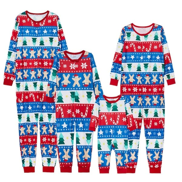 Tree + Gingerbread Man Print Family Onesies