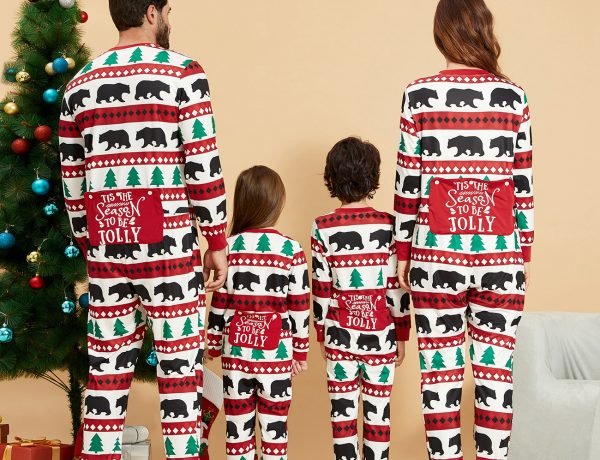 Christmas Tree and Bears Family Holiday Onesie PJs