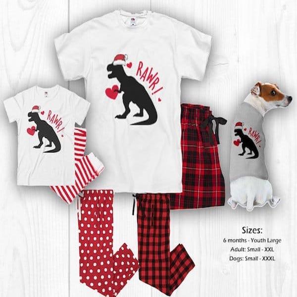 Dinosaur Family Matching Holiday PJs