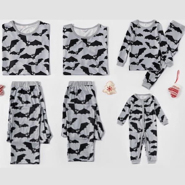Bat Print Family Halloween PJs