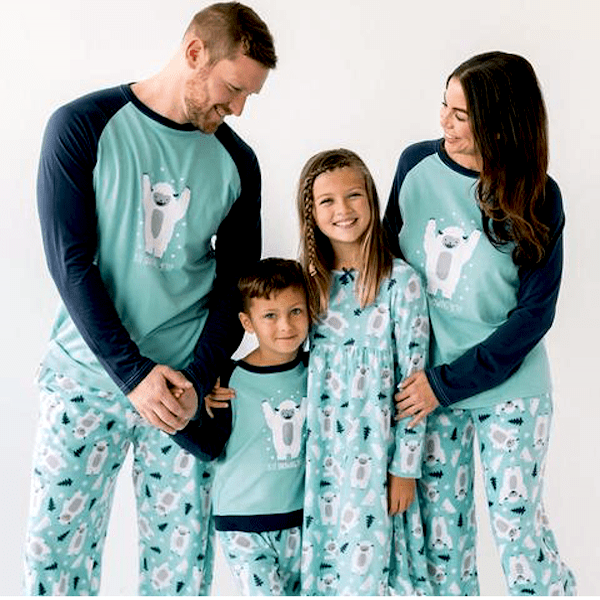 Blue Winter Snow Yeti Family Holiday PJs