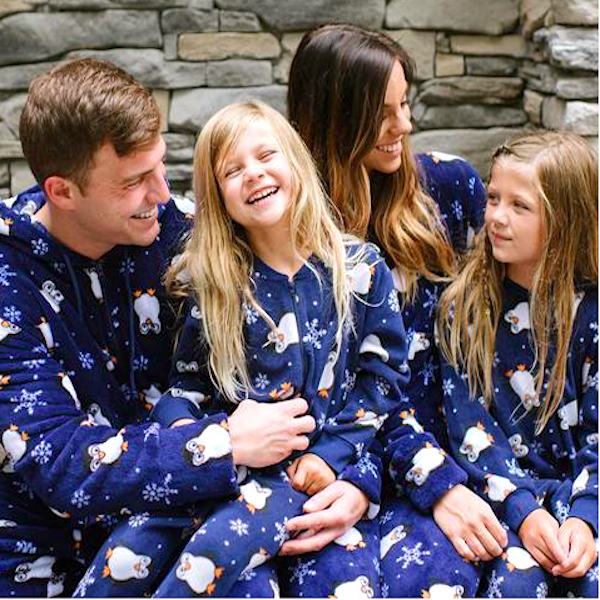 Penguin Fleece Footed Family Holiday Onesies