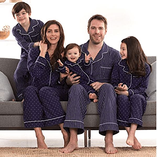 Blue Dots and Stripes Family PJs