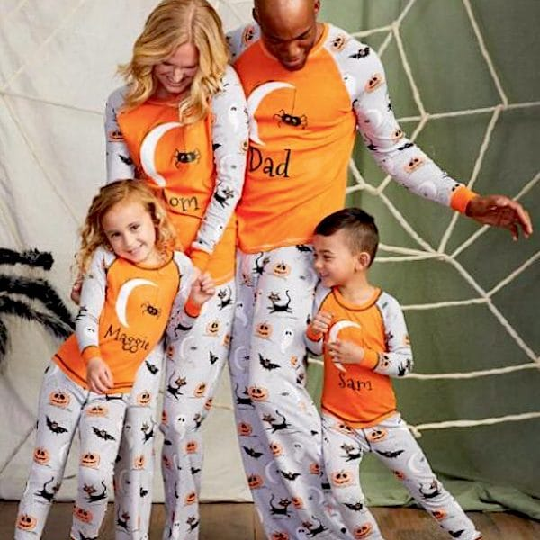 Orange & Grey Family Halloween Spider PJs