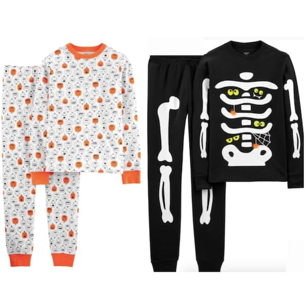 Pumpkin & Skeleton Family Halloween PJs