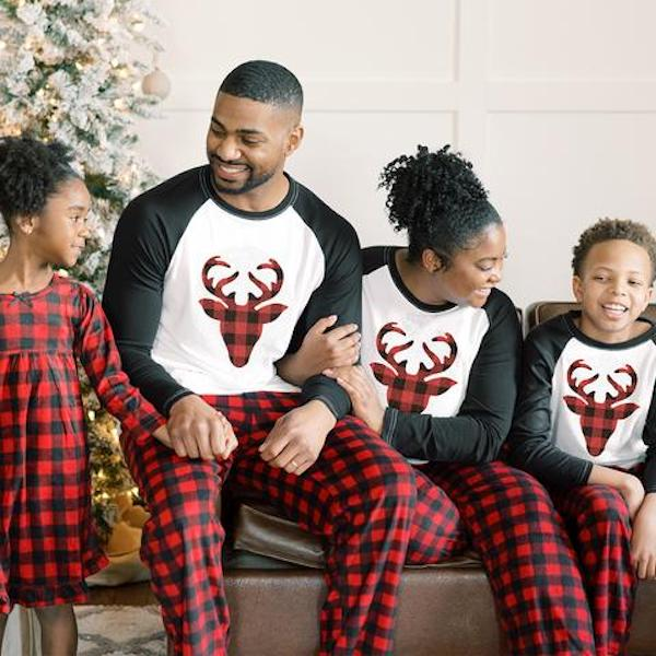 Buffalo Plaid Moose Family Holiday PJs