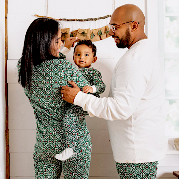 Organic Cotton Diamond Fair Isle Family Holiday PJs