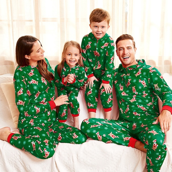 Green Reindeer Cheap Family Holiday Onesies