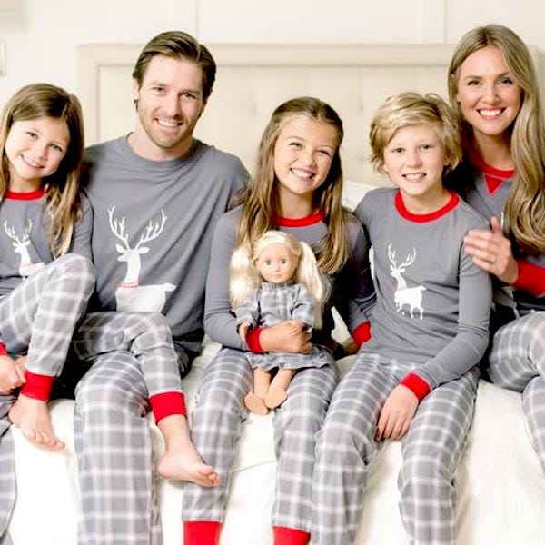 Grey Deer Plaid Family Holiday PJs