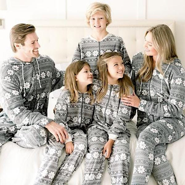 Grey Snowflake Family Holiday Onesies