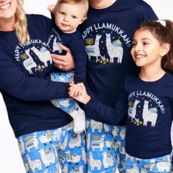 Hanukkah Llama Cotton Family PJs