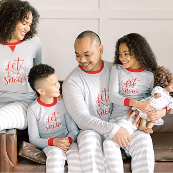 Let It Snow Grey Striped Family Holiday PJs