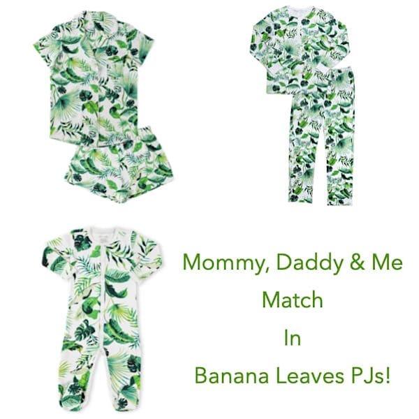 Banana Leaves Tropical Christmas Family PJs