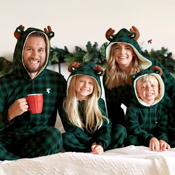 Moose Buffalo Green Plaid Family Holiday PJs Onesies