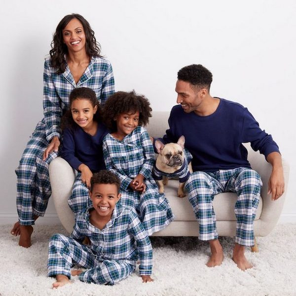 Navy Plaid Family Holiday PJs