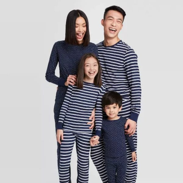 Navy Striped Family Pajama Set