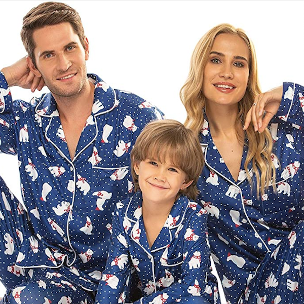 Navy Polar Bear Family Holiday PJs