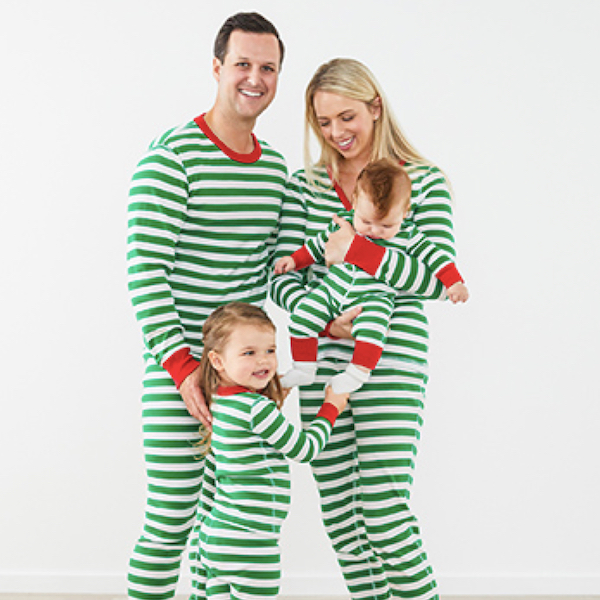 Classic Green, Red & White Stripes Family Holiday PJs