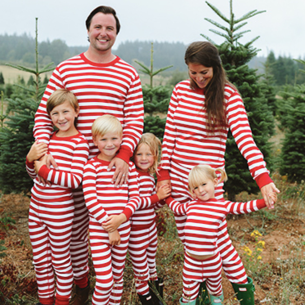 Classic Red & White Stripes Family Holiday PJs