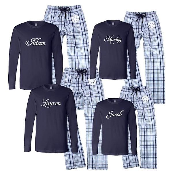 Personalized Blue Snowflake Family PJs