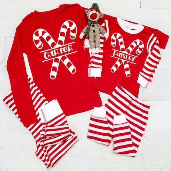 Custom Candy Cane Stripes PJs