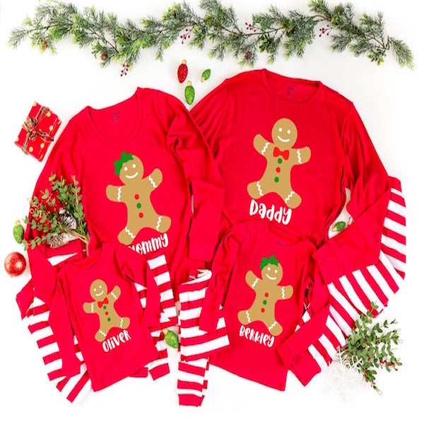 Personalized Gingerbread Family Holiday PJs