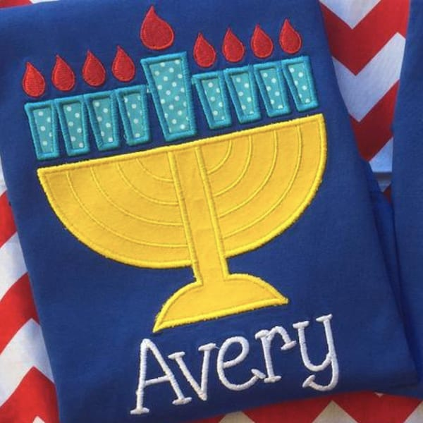 Hanukkah PJs with Menorah Appliqué
