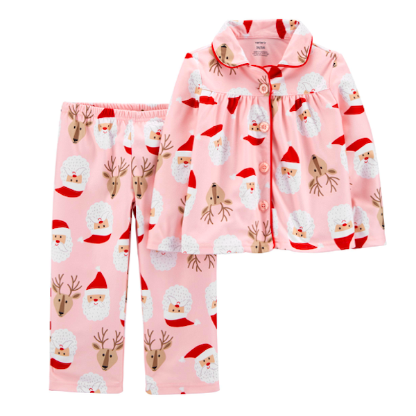 Pink Family Holiday Santa and Reindeer PJs