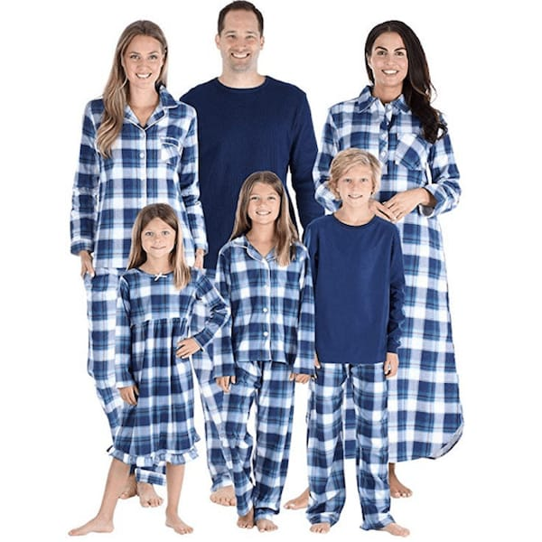Blue Plaid Family Holiday PJs