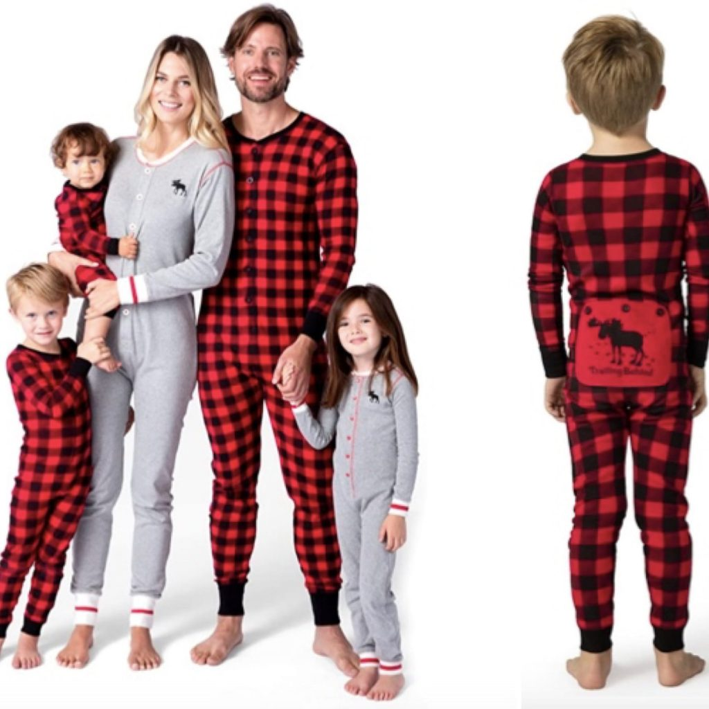 Plaid & Grey Moose Family Union Suits