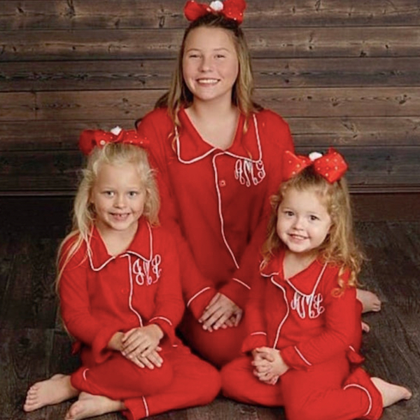 Red Button Down Monogrammed Family Holiday PJs