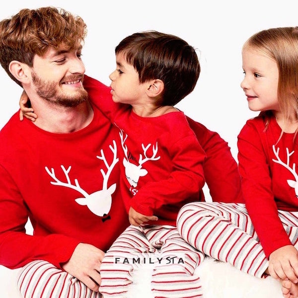 Red Deer Striped Family Holiday PJs