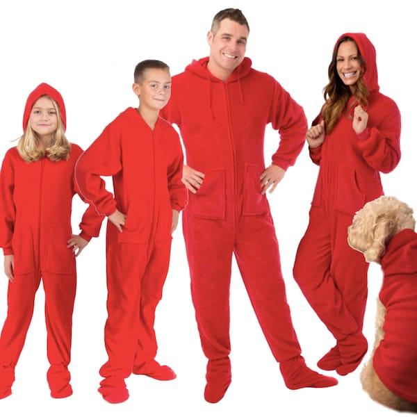 Red Hoodie Footie Family Onesies