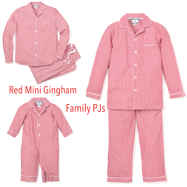 Red Mini Gingham Family Holiday PJs