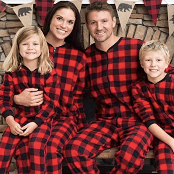 Red Plaid Fleece Family Holiday Onesies