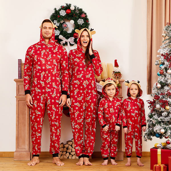 Red Reindeer Cheap Family Holiday  Onesies