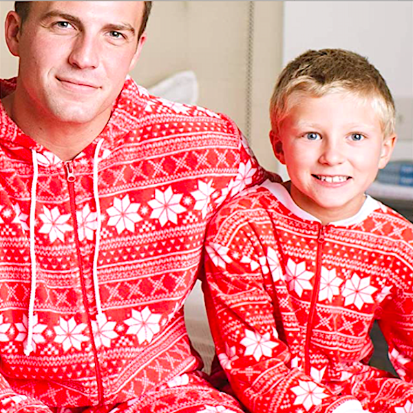 Red Snowflake Family Holiday Onesies