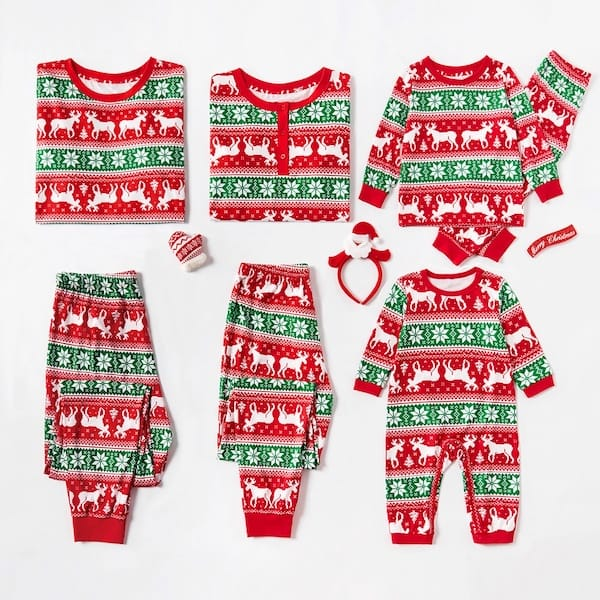 Reindeer and Snowflake Fair Isle Family Holiday PJs