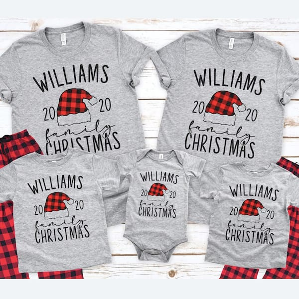 Custom Plaid Santa Hat Holiday PJs