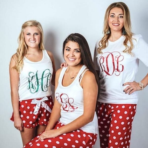 Short Sleeved Monogrammed Family Holiday PJs