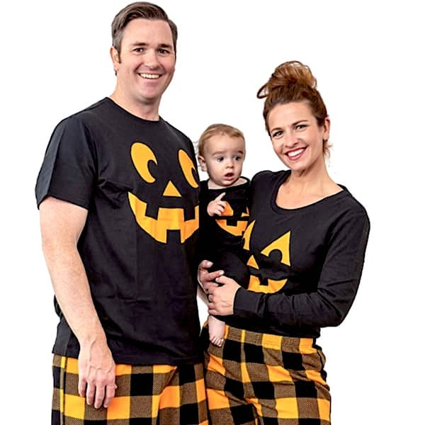 Family Matching Halloween Jack O Lantern Checked PJs